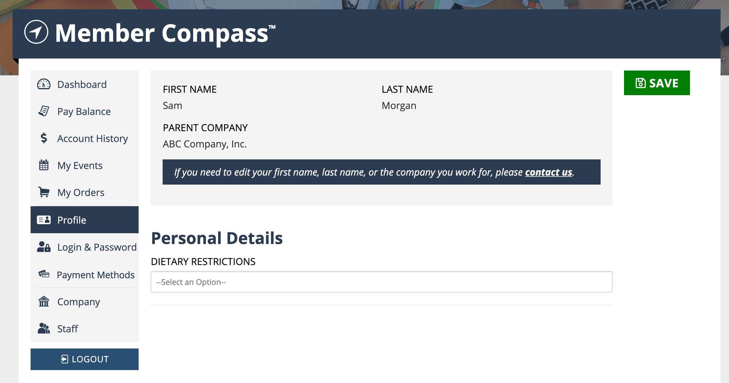 Member Compass Profile tab